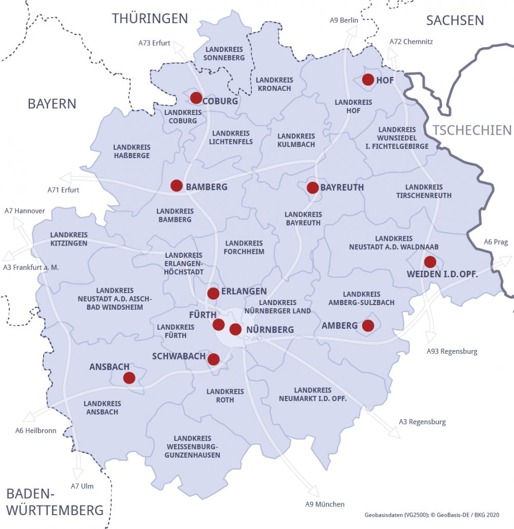 Karte Metropolregion Nürnber