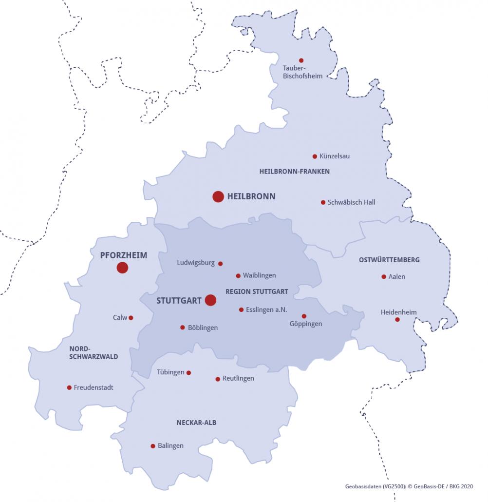 Karte Metropolregion Stuttgart