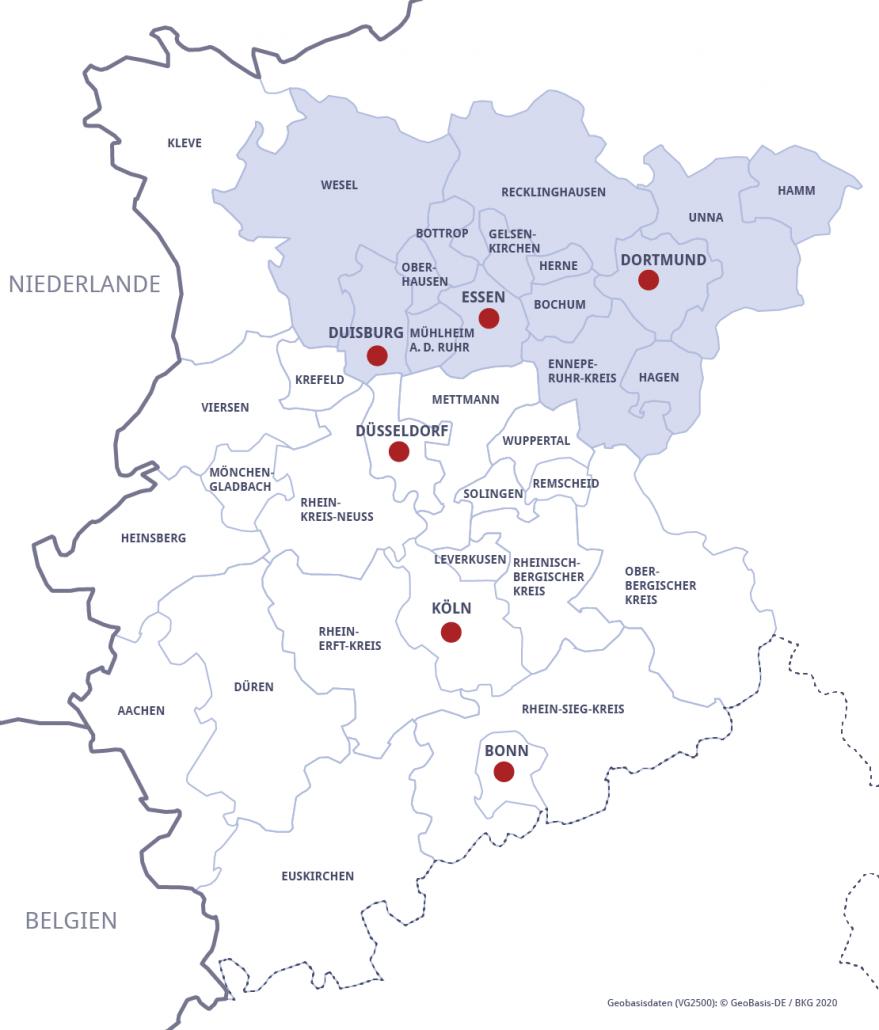 Karte Metropole Ruhr